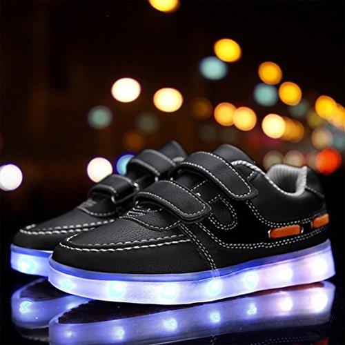 [Présents:petite serviette]JUNGLEST® 7 couleurs Unisexe Enfants LED Rechargeable Light-up Chaussures de sport USB Charge lum Noir