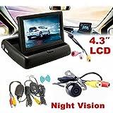 euzeo 4.3pulgadas coche monitor de visión trasera inalámbrica para coche cámara de copia de seguridad sistema de aparcamiento Kit