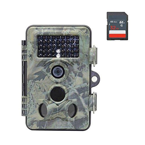 [versione aggiornata] Oldshark 12MP 1080p HD Trail e caccia camera 120gradi grandangolare IP66impermeabile Scouting camera 42pezzi visione notturna ad infrarossi digitale telecamera di sorveglianza con 32G scheda SD