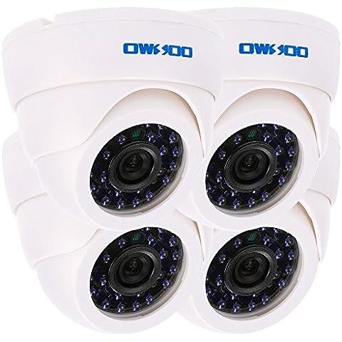 OWSOO 800TVL CCTV Set di Telecamere Girevoli di Sorveglianza con 24 LED 3,6 Millimetri Luce Infrarossa Grandangolare a Colori IR con 4 Cavi di 60ft