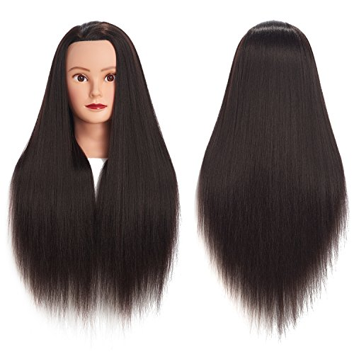 Hair Extensions & Wigs Synthetic Mannequin Head Female Hair Head Doll 22 Inches Mannequin Doll Head Hairdressing Training Heads Styling With Fiber Aesthetic Appearance Tools & Accessories