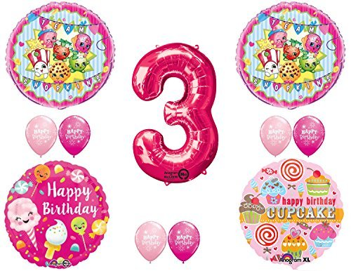 SHOPKINS 3rd BIRTHDAY PARTY Balloons Decorations Supplies kit by Mayflower Products