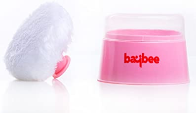 Baybee Premium Soft Face Body Cosmetic Powder Puff Sponge Box Case Container ( Pink )
