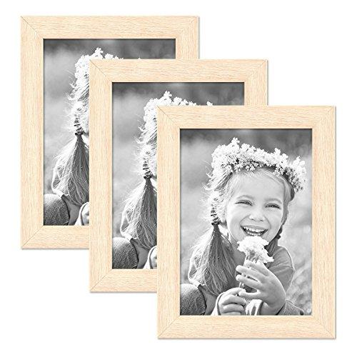 PHOTOLINI 3er Set Bilderrahmen 13x18 cm Sonoma Eiche Hell Modern Massivholz-Rahmen mit Glasscheibe inkl. Zubehör/Fotorahmen -