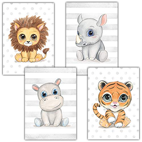 Frechdax® Lot de 4 Posters décoratifs pour Chambre d'enfant DIN A4   Animaux de la forêt Safari...