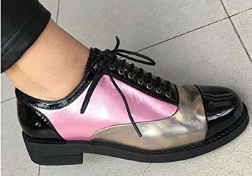 LDMB Frauen-lederner beiläufiger Schuh-Kreuz-Bügel-runder Haupt-einzelne Schuhe Pink