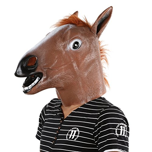 Gugutogo Maschera di testa di cavallo in lattice Costume animale Prop Gangnam Style Toys Festa di Halloween (Colore: marrone chiaro)