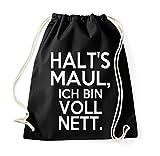 TRVPPY Turnbeutel mit Spruch / Modell Halt's Maul ich bin voll nett / Beutel Rucksack Jutebeutel Sportbeutel Fashion Hipster