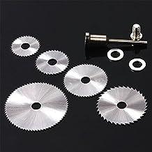JTENG 6 piezas HSS hojas de sierra Circular de corte herramienta rotarios discos mandril para Dremel de corte
