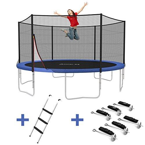 Ampel 24 Outdoor Trampolin Ø 430 cm blau mit verstärktem Netz | Gartentrampolin mit Leiter & Windsicherung | Sicherheitsnetz 6 gepolsterte Stangen | Belastbarkeit 160 kg Trampolin 4 Meter