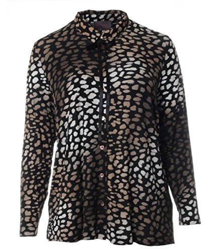 Sempre Piu Leoparden-Bluse Damen Jersey Schwarz Braun Langarm warm kuschelig elegant große Größen Plus Size, Größe:44