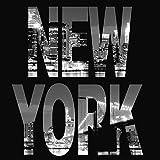 Artland Qualitätsbilder | Glasbild Deko Glas Bilder 30 x 30 cm Skyline New York Panorama bei Nacht D8UP Schwarz Weiß Typografie