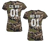 SE-creation BFF Partner Camouflage T-Shirt Set | Little & Big Sister + Wunschzahl