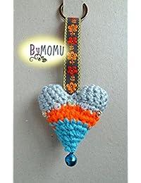Llavero CORAZÓN Crochet-Gris/Naranja/Azul