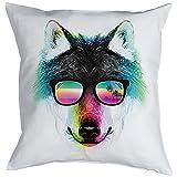 Wolf Motiv Kissen - Kuschelkissen bunter Wolf Wildtiere : Summer Wolf Kissenbezug ohne Füllung Farbe: weiss