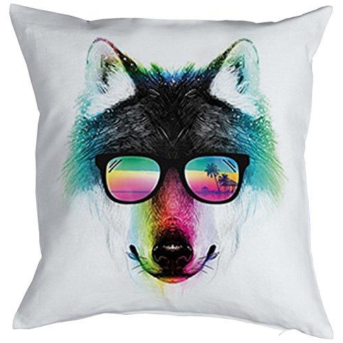 Kissenbezug für 40x40 Kissen: Summer Wolf mit Sonnenbrille, buntes Motiv - Farbe: weiss