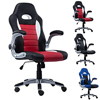 FDS Adjustable PU Leather Racing Office Chair Swivel Gaming Desk Chair (Red)