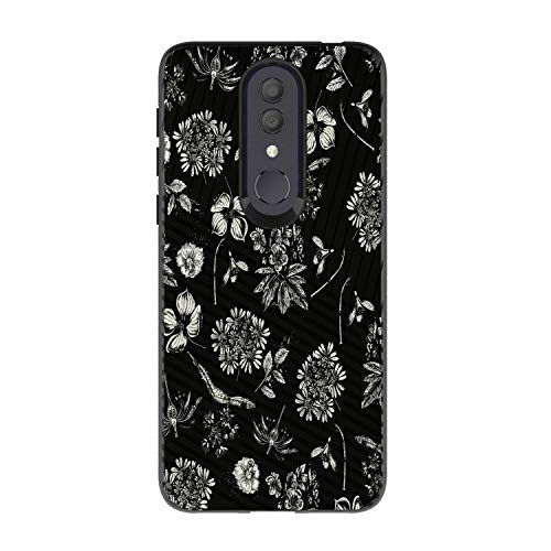 MINITURTLE Hülle für Alcatel Onyx [Hybrid TPU & PC Slim Case für Alcatel Onyx Case] Schutzhülle Silikon Case kompatibel mit Alcatel Onyx Hard Shell Phone Case, Black White Flowers
