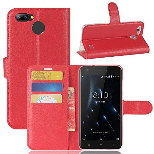 Handyhülle für Blackview A7 Pro 95street Schutzhülle Book Case für Blackview A7 Pro , Hülle Klapphülle Tasche im Retro Wallet Design mit Praktischer Aufstellfunktion - Etui Rot