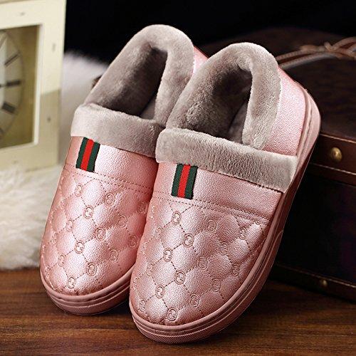 DogHaccd pantofole,Il cotone pantofole uomini pacchetto invernale con la calda coperta spessa soggiorno con pelle PU impermeabile antiscivolo scarpe di cotone coppia femminile Pelle di colore rosso1
