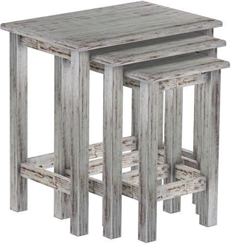 Brasilmöbel 3 x Beistelltische als Set, Pinie Massivholz, geölt und gewachst Shabby – Eiche antik, L/B/H: 60 x 40 x 62 cm