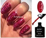 BLUESKY BLZ59Gel-Nagellack, Weihnachtliches Winter-Rot mit Glitzer, Diamant Fuchsia, UV-/LED-Soak–Off, 10ml, plus 2LuvliNail-Glanztücher