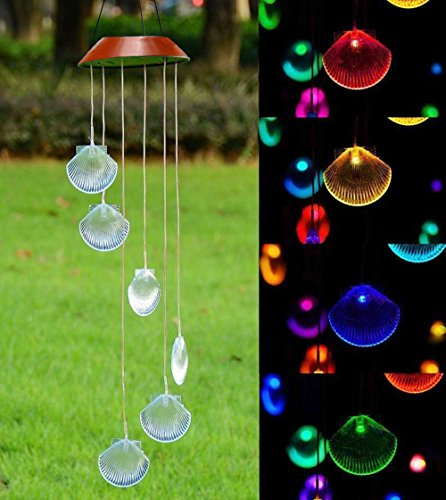 LED Solar Windspiel, Farbwechsel, Seashell Formen Wind Chimes Solar Mobile wind Bell f�r Home/Party/Garten/Hof Dekoration