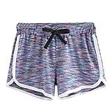 ZARU Damen Sport-Shorts, Beiläufige Yoga Hotpants Sommer Jogging Runing Training Kurze Hosen mit Tunnelzug (XL, Mehrfarbig)