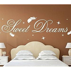 Wandora G014 Schlafzimmer Spruch Sweet Dreams mit Sternen & Federn Wandaufkleber Wandsticker weiß (BxH) 140 x 39 cm