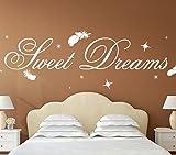 Wandora G014 Schlafzimmer Spruch Sweet Dreams mit Sternen & Federn Wandaufkleber Wandsticker cremeweiß (BxH) 180 x 50 cm