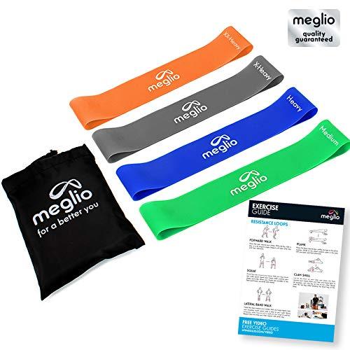 Meglio Loop Bänder Fitnessbänder für Yoga, Pilates, Rehabilitation, Training- Grün (mittel), blau (schwer), schwarz (x-schwer), orange (xx-schwer)