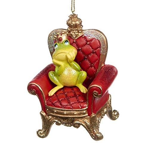 Goodwill decorazione per albero di natale, in resina, re ranocchio sul trono, 10 cm, verde e bordeaux