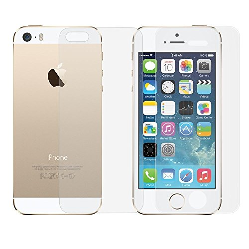 Teflon APPLE IPHONE 5S 5G 5 Front & Back HD+ 9H Hardness Toughened Tempered Glass Screen Protector