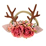 Fancyku Deer Antlers Ears Flower Headband Kid Hair Hoop Christmas Costume