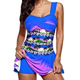 TWIFER Frauen Bikini Set Plus Größe Tankini Set Boy Shorts Dot Gepolsterte Damen Push Up Swimdress Beachwear Badeanzug S-5XL (5XL/52, Z-Dunkelblau)