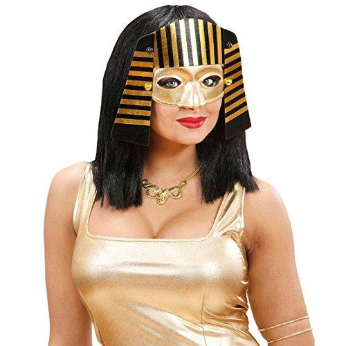 NET TOYS Pharao Maske gold-schwarz Ägypten Kopfschmuck Pharaomaske Cleopatra Pharaonen Faschingsmaske Ägyptischer Gold Helm Antike Kostüm Accessoire