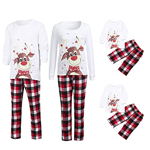 Weihnachten Schlafanzug Familien Outfit Mutter Vater Kind Baby Pajama Casual Langarm Nachtwäsche Deer Print Sleepwear Casual Cartoon Langarmshirt Oberteile Top Kariert Hose Set von ()