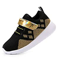 EIGHT KM Boys and Girls Toddler Kids Lightweight Breathable Sparkly Velcro Designer Trainers School Shoes