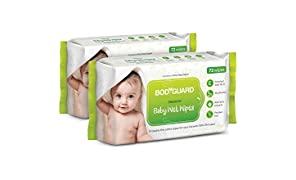BodyGuard Premium Paraben Free Baby Wet Wipes with Aloe Vera - 72 Wipes (Pack of 2)