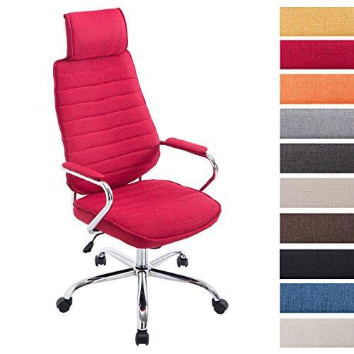 CLP Bürostuhl RAKO mit hochwertiger Polsterung und Stoffbezug | Höhenverstellbarer Chefsessel mit Armlehnen Rot