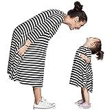 YOUJIA Mutter & Tochter Sommerkleid Kinderkleidung Gestreifte Kleid Shirts Beiläufige Familie Kleidung Mädchen, M (Mama)