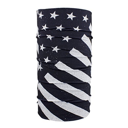 ZANheadgear Motley Tube Unisex-Adult Polyester Face Mask (Multi Color, One Size) (Black & White Flag) by Zanheadgear - Adult Tube