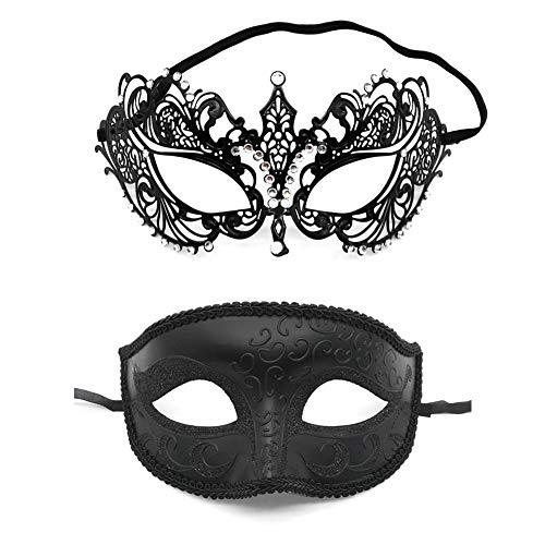 auspilybiber 2 Pack Paar Maskerade Maske Metall Masken Halloween Kostüm Maske Karneval Mardi Gras Prom Maske Dance Party Kostüme Zubehör Sale2019 (Für 2019 Für Paare Halloween-kostüme)