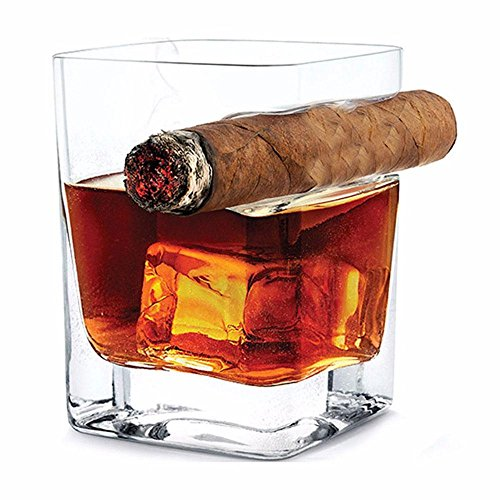 Pawaca Whiskey-Glas mit Zigarrenhalter, 320ml Fassungsvermögen, Handarbeit, quadratisch, traditioneller Stil, geeignet für Whiskey, Scotch, Bier, Wein, Spirituosen