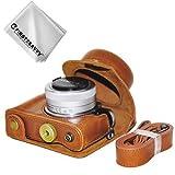 First2savvv marrón Calidad premium Funda Cámara cuero de la PU cámara digital bolsa caso cubierta con correa para Panasonic Lumix DC-GF9.GF8, GF7, GX850.GX800 (12-32mm Lens) XJD-GF9-09G11