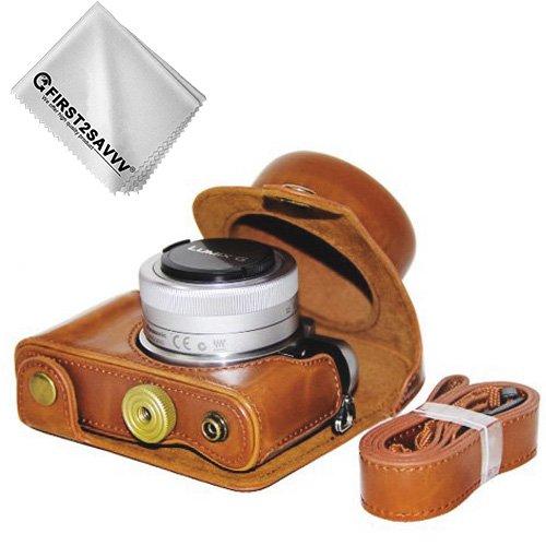 First2savvv PU cuir étui housse appareil photo numérique pour Panasonic Lumix DC-GF9.GF8 .GF7.GX850.GX800 avec Lens 12-32mm + Chiffon de nettoyage XJD-GF9-09