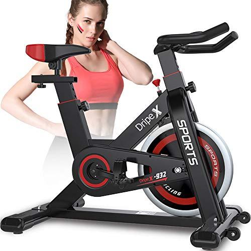 Dripex Ergometer Heimtrainer Fahrrad Fitness Bikes mit Pulsmesser, Stufenlose Widerstandseinstellung, großes Trägheitsschwungrad, Benutzergewicht bis 150kg (Rot)