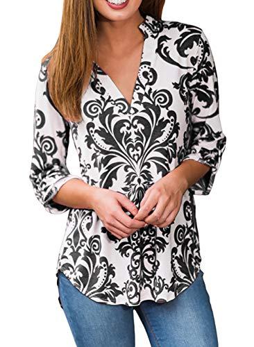 Damen V Ausschnitt Casual Shirts Frauen Druck Muster Bluse Tops (Schwarz, M/EU 40-42)