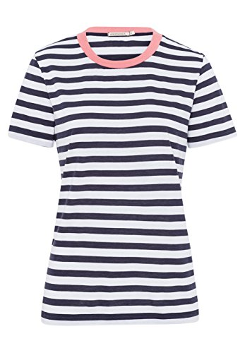 armedangels Damen T-Shirt aus Tencel®-Mix - LIDA Bold Stripes - S White-Navy (Damen Tencel Großen T-shirt)