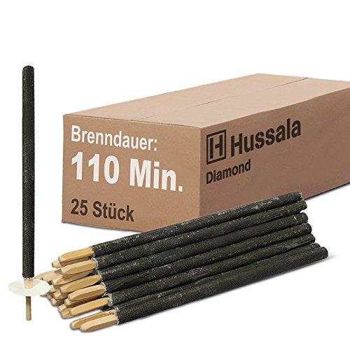 Hussala - Diamond Wachsfackeln Brennzeit 110 min Garten-Fackeln [25 Stück]